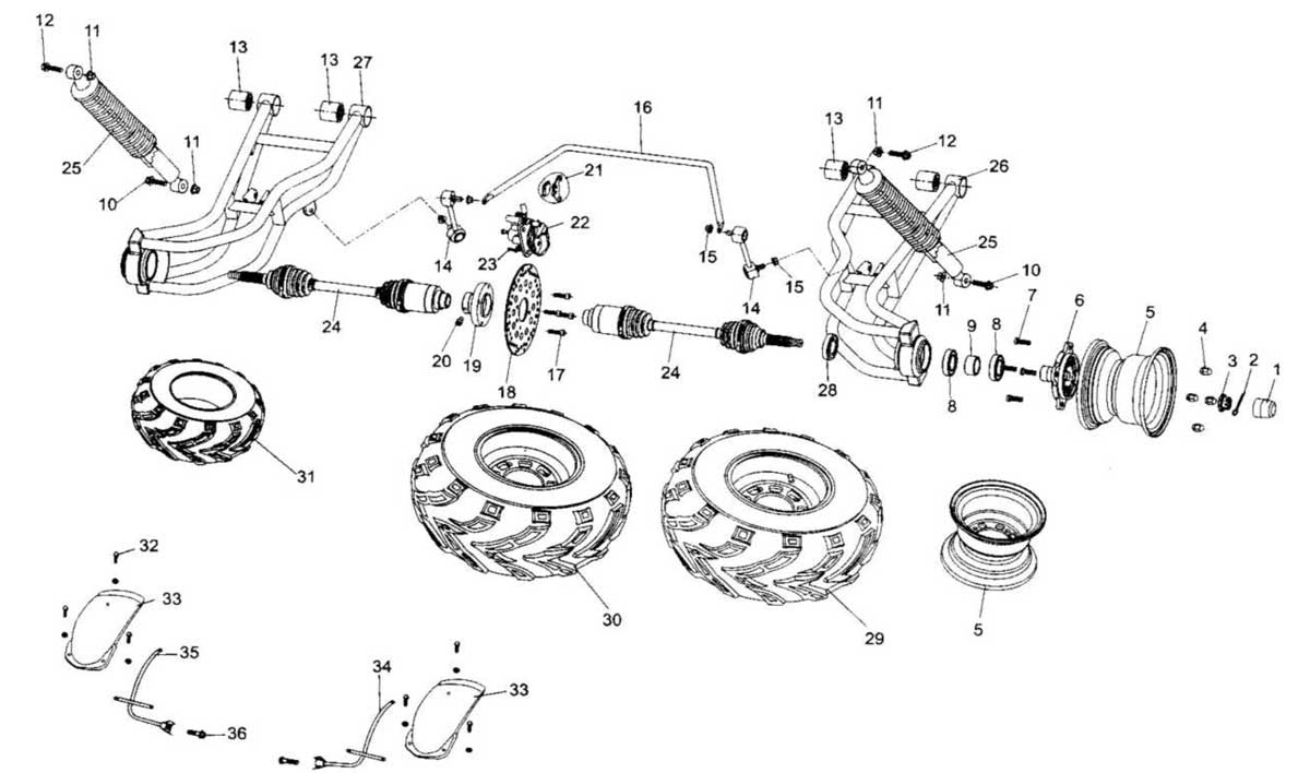 Hammerhead UM250IIR Rear Suspension Assembly
