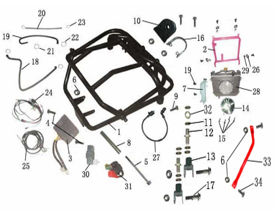 Upper Rear Swing Arm_3 baja dune 250 upper rear swing arm baja dune 250 baja baja motorsports wiring diagram dn 250 at edmiracle.co